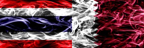 Thailand vs Qatar, Qatari smoke flags placed side by side. Thick abstract colored silky smoke flags. Thailand vs Qatar, Qatari smoke flags placed side by side royalty free stock photos