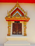 Thailand Wat window. Window in the church is decorated with Buddha statue Royalty Free Stock Image
