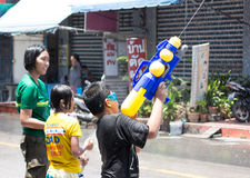 Thailand Water Festival. April 13 every year, the long tradition of Thailand. Songkran or water festival and also the New Year. According to Thai cultur Stock Photos