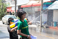 Thailand Water Festival. April 13 every year, the long tradition of Thailand. Songkran or water festival and also the New Year. According to Thai cultur Stock Photo