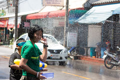 Thailand Water Festival. April 13 every year, the long tradition of Thailand. Songkran or water festival and also the New Year. According to Thai cultur Stock Images