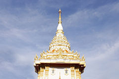Thailand white church with blue sky. And white clouds Royalty Free Stock Photography