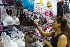 Thailand women buy lingerie Royalty Free Stock Photo