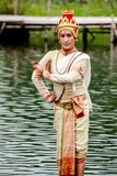 Thailand women performing dance on the water. Stock Photo