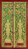 Thailand wood carving. Traditional Thai art on a door in a temple,wood carving Stock Images