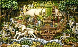 Thailand wood carving art. Section of an ancient mural wood carving art from Thailand. The production of things from a teak is very important for a country Stock Photos
