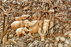 Thailand wood carving art Royalty Free Stock Photo