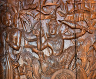 Thailand wood carving. Section of an ancient mural Thailand wood carving in temple Royalty Free Stock Image