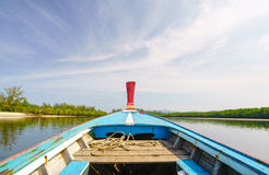 Thailand wooden boat in blue sky Stock Photo
