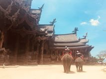Thailand Wooden Temple. Beach Elephant Stock Photography