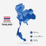 Thailand on the world map with a blue abstract pattern on grey background. Stock Photography