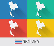 Thailand world map in flat style with 4 colors. Stock Image