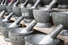 Thailands handmade, rock mortar. In this picture is shown the variety of conventional house cooking tools, a rock mortar, in which normally use to grind food Stock Photography