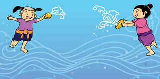 Thailändsk för Songkran för nytt år illustration för festival vatten Arkivfoto