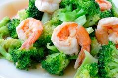 Thailändsk sund mat stekt under omrörning broccoli med räka Fotografering för Bildbyråer