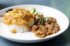 Thailändska foods: Stekt griskött Arkivbilder