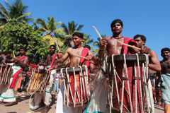 Thaipooyam festival. Percussion artists play drums in the Thaipooyam festival at Subramanian temple on January 27, 2013 in Haripad, India.Thaipooyam festival is Stock Photos