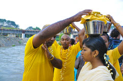 Thaipusam 2009. Kuala Lumpur - Feb 8: Celebration of Thaipusam at Batu Caves on February 8, 2009. Thaipusam is a Hindu festival and it honors Subrimaya, son of Royalty Free Stock Photography