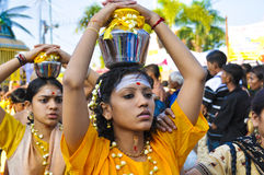 Thaipusam 2009. Kuala Lumpur - Feb 8: Celebration of Thaipusam at Batu Caves on February 8, 2009. Thaipusam is a Hindu festival and it honors Subrimaya, son of Royalty Free Stock Photos
