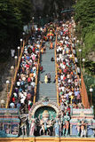 Thaipusam crowd. BATU CAVES, MALAYSIA - JANUARY 20:The crowd on the stairs leading to the temple during the Hindu festival of Thaipusam on January 20, 2011 in Royalty Free Stock Image