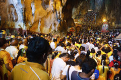 Thaipusam Festival 2012: Flow of Devote. Batu Cave, Kuala Lumpur : Celebrated on the 10th month of the Hindu calendar, Thaipusam, which falls in January or Royalty Free Stock Photo