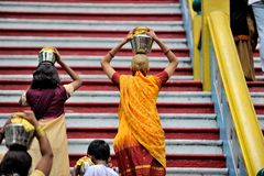 Thaipusam festival. Thaipusam is a Hindu festival celebrated mostly by the Tamil community on the full moon in the Tamil month of Thai (January/February). It is Royalty Free Stock Photos