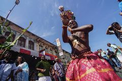 Thaipusam festival på Georgetown, Penang, Malaysia Arkivbild