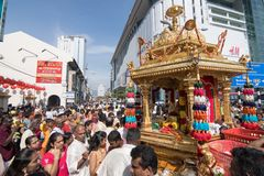 Thaipusam festival på Georgetown, Penang, Malaysia Arkivfoto