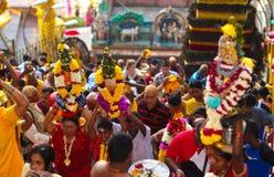 Thaipusam patrony przy Batu jamą i pielgrzymi, Malezja Obraz Stock