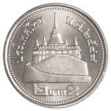 2 Thais Bahtmuntstuk Stock Afbeeldingen