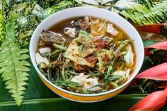 Thais Beroemd Voedsel, Kaeng-Som of Thaise zure die soep van tamarinde p wordt gemaakt stock fotografie
