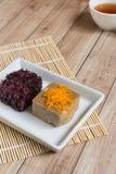 Thais Dessert: Kleverige rijst met ei gestoomde vla Royalty-vrije Stock Afbeeldingen