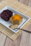 Thais Dessert: Kleverige rijst met ei gestoomde vla Stock Fotografie
