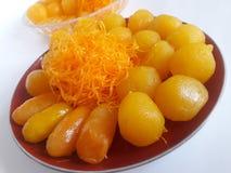 Thais dessert Tong Yord _Foi Tong_ Med Khanoon stock foto's