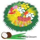 Thais gemengd dessert stock illustratie