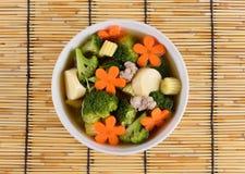 Thais gezond voedsel gekookt broccoli en varkensvlees stock afbeelding