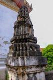 Thais Gipspleisterpatroon op de oude pagode of het zijaanzicht van Prang royalty-vrije stock foto