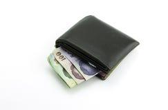 Thais het geldbankbiljet van de Bahtmunt in portefeuille Royalty-vrije Stock Afbeeldingen