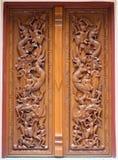 Thais houten ambachtpaneel Stock Foto