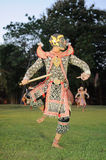 Thais klassiek gemaskeerd spel bij het Historische Park van Phimai, Thailand Royalty-vrije Stock Afbeelding