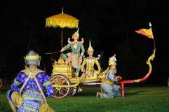 Thais klassiek gemaskeerd spel bij het Historische Park van Phimai, Thailand Stock Fotografie