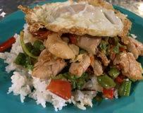 Thais kruidig kippenbasilicum met gebraden royalty-vrije stock afbeeldingen