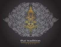 Thais kunstelement Traditioneel van de bloemen van Boedha stock illustratie