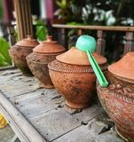 water in clay pot Royalty Free Stock Photo