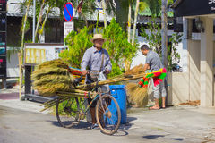 Thais selling brooms on the streets Stock Image