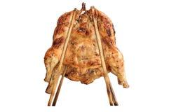 Thais-stijl geroosterde kip op witte achtergrond Stock Foto's