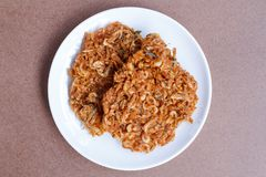 Thais straatvoedsel, Knapperige garnalen, Fried Krill Royalty-vrije Stock Fotografie