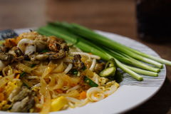 Thais voedsel - beweeg gebraden gerecht #6 Be*wegen-gebraden Thaise noedels Stock Foto