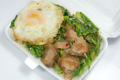 Thais voedsel - beweeg gebraden gerecht knapperig varkensvlees met Boerenkool (Kana Moo Grob) Stock Foto's