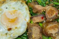 Thais voedsel - beweeg gebraden gerecht knapperig varkensvlees met Boerenkool (Kana Moo Grob) Royalty-vrije Stock Foto's
